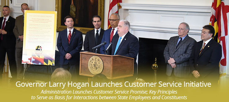 Governor Larry Hogan announcing his customer service pledge